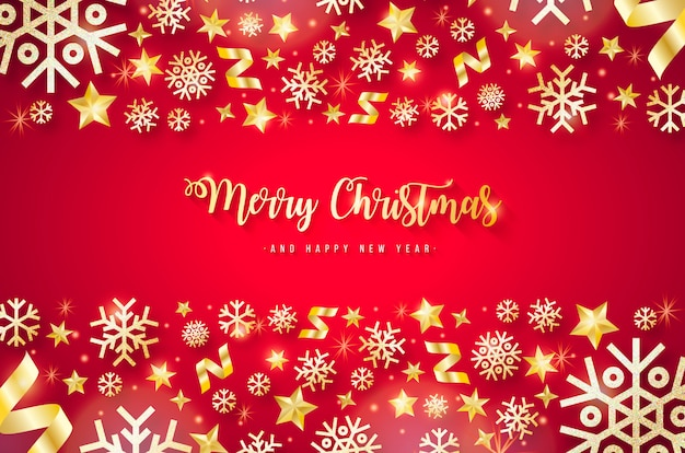 Elegant red christmas background with golden elements