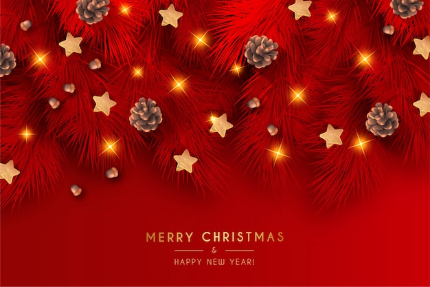 Elegant red christmas background with realistic decoration
