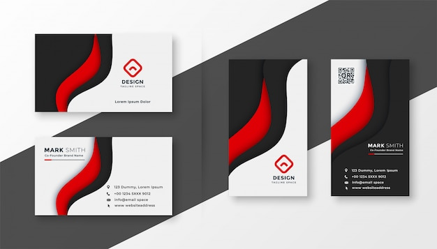 Elegant red corporate business card template