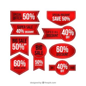 Elegant red discount sticker collection