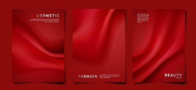 Elegant red fabric cover template set
