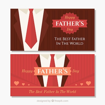 Elegant red fathers day banners