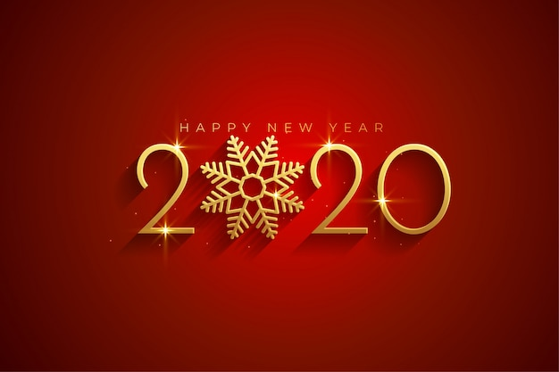 Elegant red and gold happy new year 2020 background card