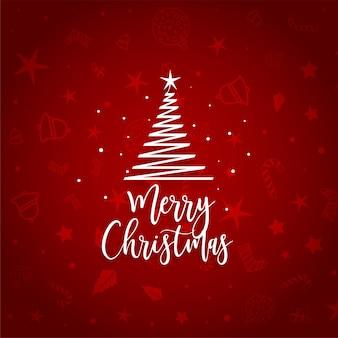 Elegant red merry christmas  tree