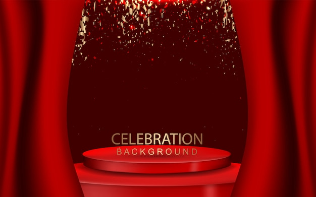 Elegant red podium background with confetti decoration