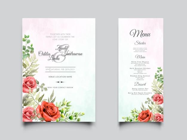 エレガントな赤いバラ手描きの結婚式の招待状のテンプレート
