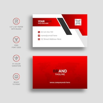 Elegant red and white business card
