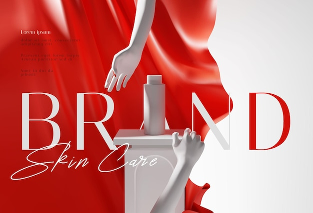 Elegant red and white cosmetic product ads presentation template
