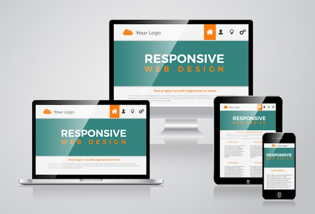 Elegant responsive web site illustration vectorial design