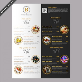 Elegant Restaurant cafe menu template design editable