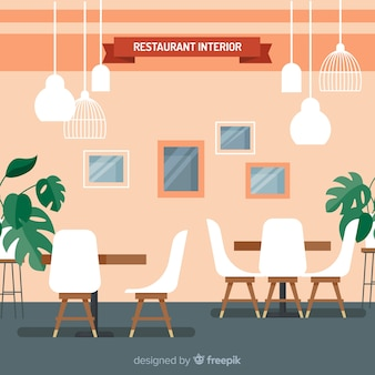 Elegant restaurant interior with flat design