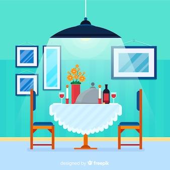 Elegant restaurant interior with flat design