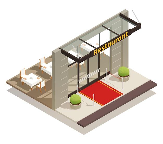 Элегантный ресторан изометрической иллюстрации