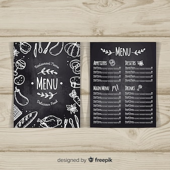 Elegant restaurant menu template with chalkboard style