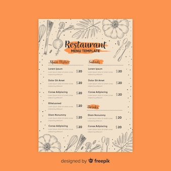 Elegant restaurant menu template with drawings