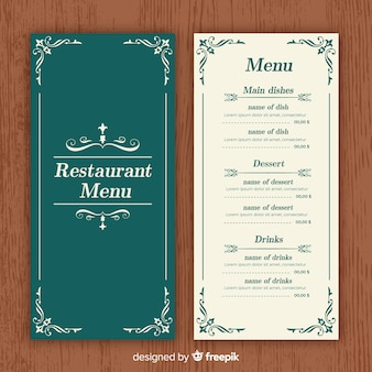 Elegant restaurant menu template with vintage ornaments