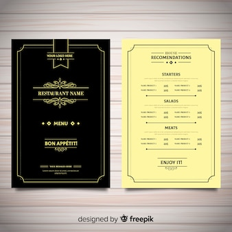 Elegant restaurant menu template with vintage ornaments