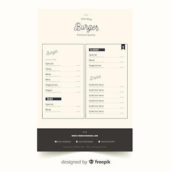 Elegant restaurant menu template with vintage typography