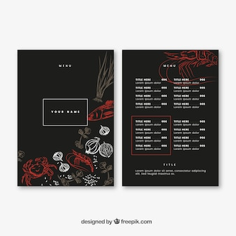 Elegant restaurant menu with drawings