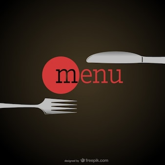 Elegant restaurant menu with a fork and a knife