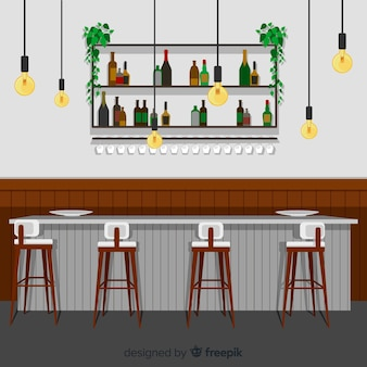 Elegant restaurant with flat design