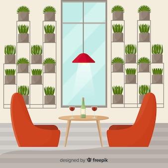 Elegant restaurant with flat design