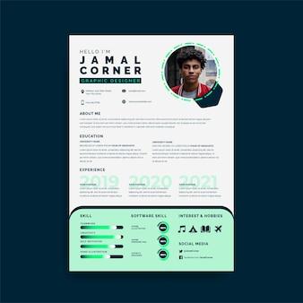 Elegant resume premium template unique color combination green