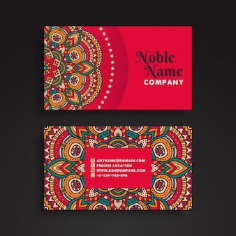 Elegant retro business card in mandala style