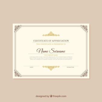 Elegant retro certificate
