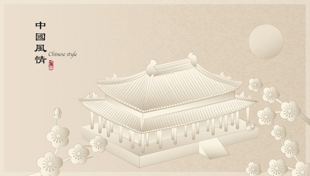 Elegant retro chinese style background template countryside landscape of architecture building and plum blossom flower