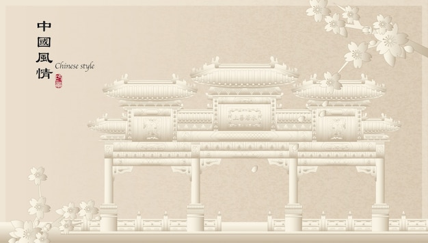 Elegant retro chinese style background template countryside landscape of architecture memorial archway and sakura cherry blossom flower
