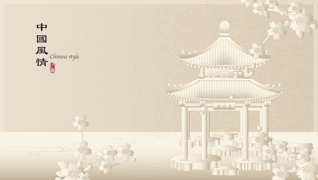 Elegant retro chinese style background template countryside landscape of architecture pavilion and sakura cherry blossom flower