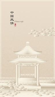 우아한 복고풍 중국 스타일의 배경 템플릿 건축 파빌리온과 중국 소나무의 시골 풍경