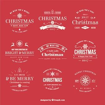 Elegant retro christmas stickers set Free Vector