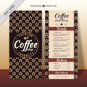 Elegant retro floral coffee menu