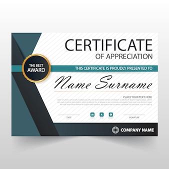 Горизонтальный сертификат blue elegant с векторной иллюстрацией