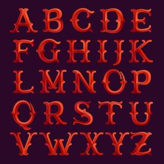 Элегантный граненый красный шрифт в стиле ретро. винтажный шрифт