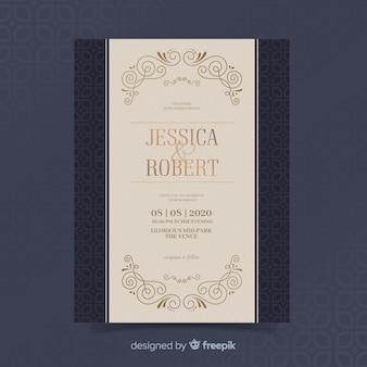 Elegant retro wedding invitation template