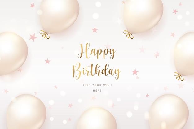 Elegant retro white ballon and godlen ribbon happy birthday celebration card banner template background