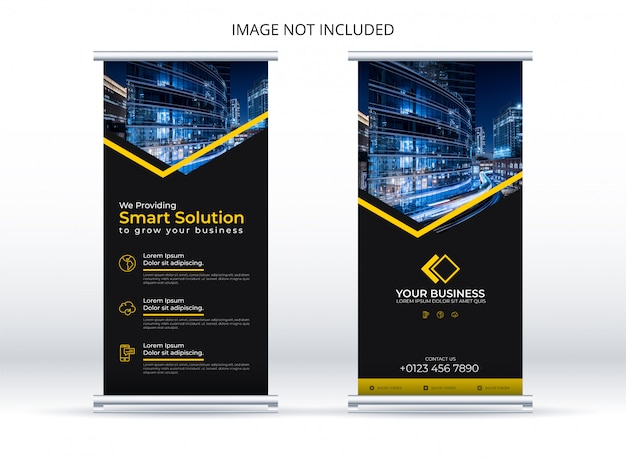 Elegant roll up banner with yellow stripe