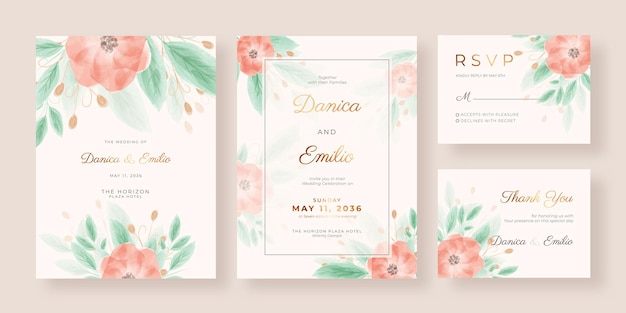 Elegant and romantic wedding invitation with watercolor flowers