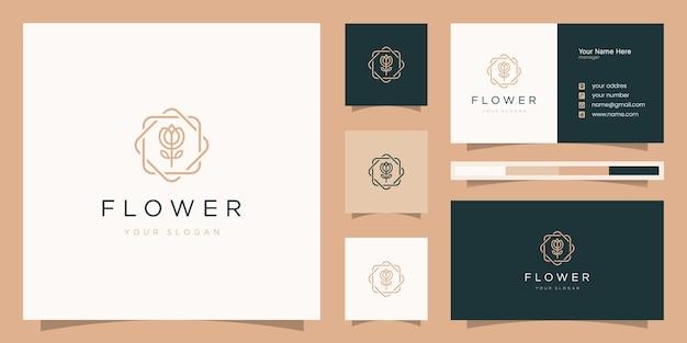 エレガントなバラの美しさ、ヨガ、スパ。ロゴデザインと名刺