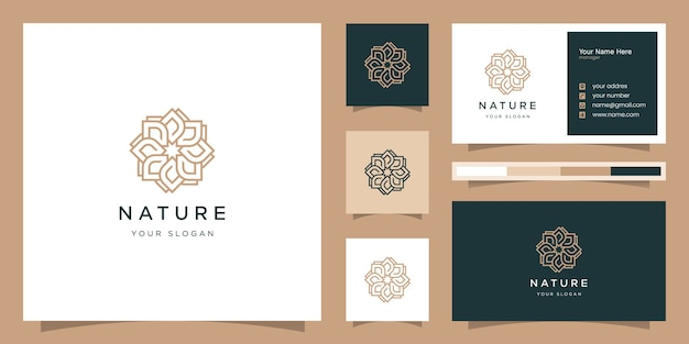 Elegant rose beauty, yoga and spa. logo design and business card