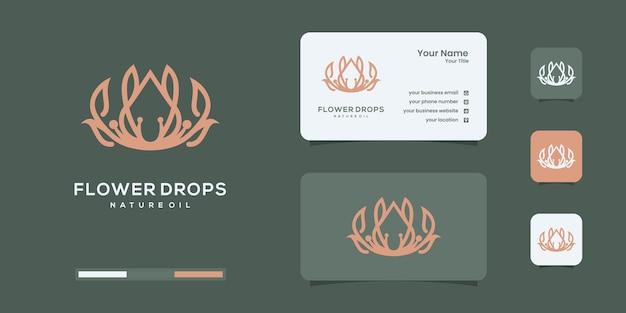 エレガントなローズオイル、化粧品、ビューティーケア、フラワー、ドロップ、スキンケアのロゴデザインのインスピレーション。