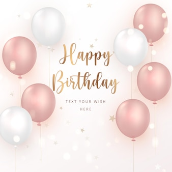 Elegant rose pink ballon happy birthday celebration card banner template background