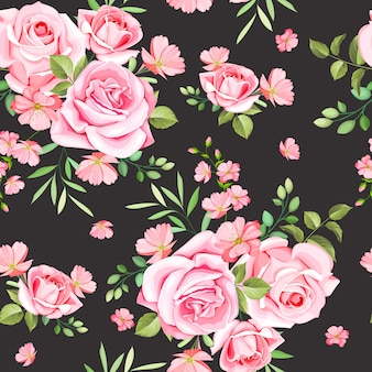 Elegant roses and leaves seamless pattern