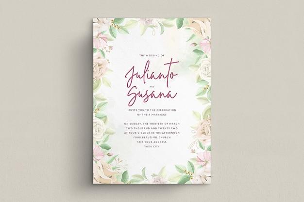 Set di carte invito matrimonio elegante rose