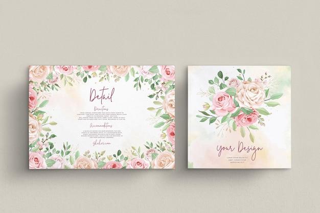 우아한 장미 결혼식 초대 카드 세트