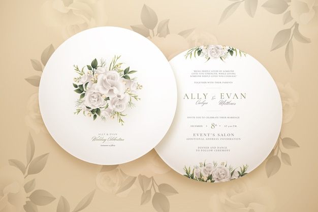 Elegant round wedding invitation collection template