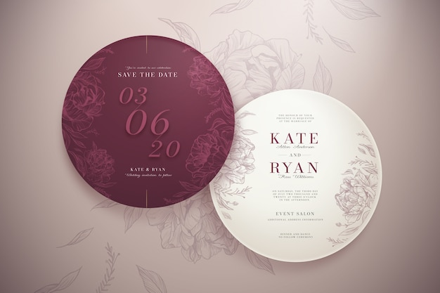 Elegant round wedding invitation set